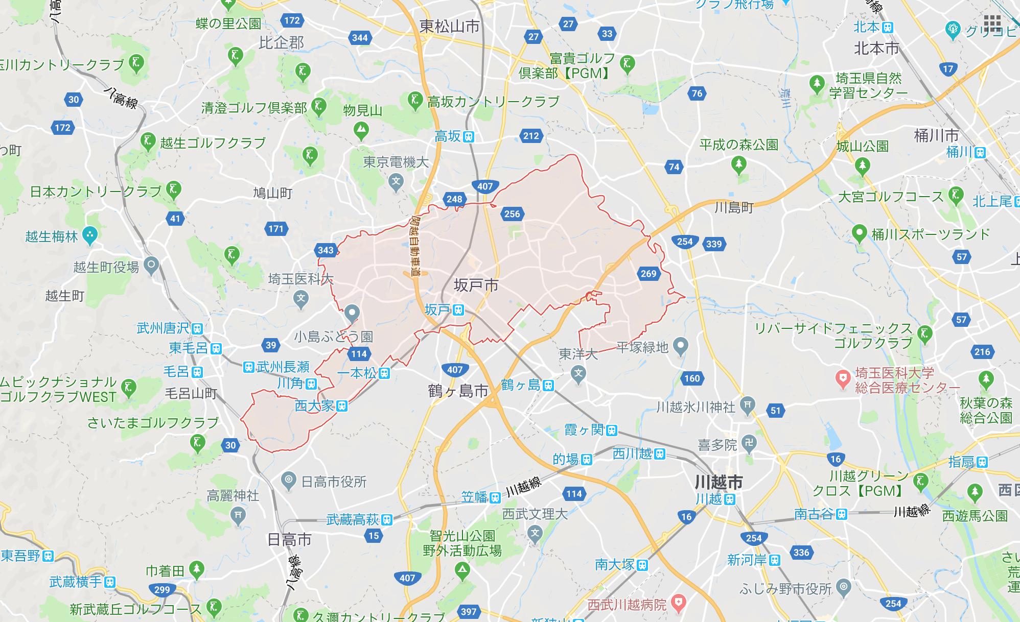 埼玉県坂戸市のGoogle Map