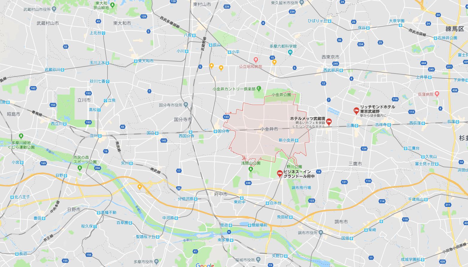 【金融機関一覧】東京都小金井市