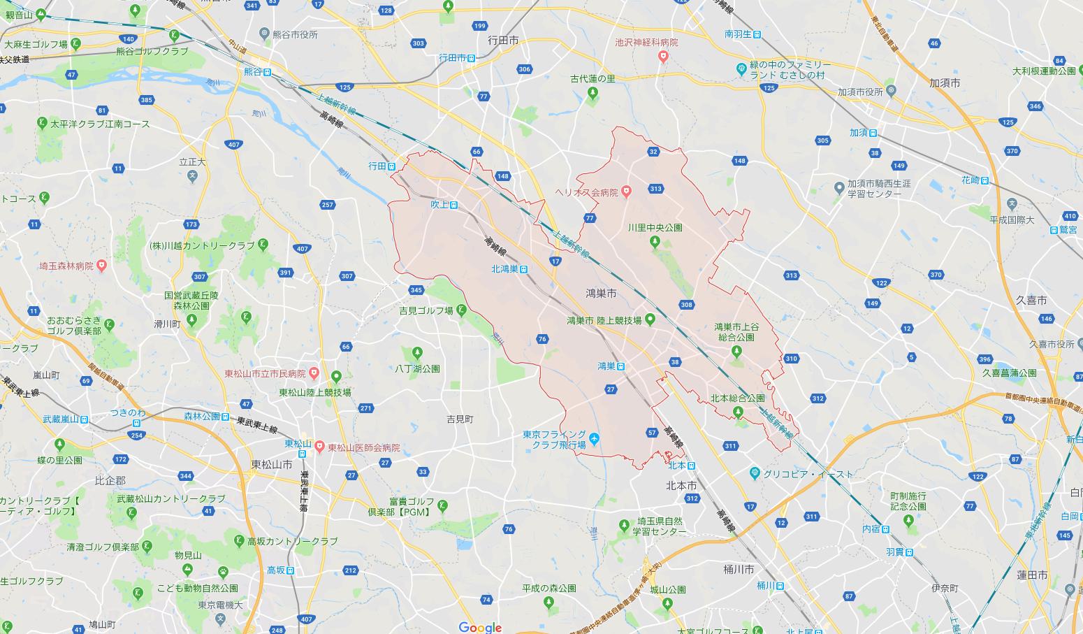 埼玉県鴻巣市の地図