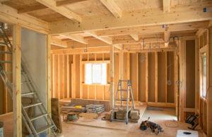 工事中の住宅の内部